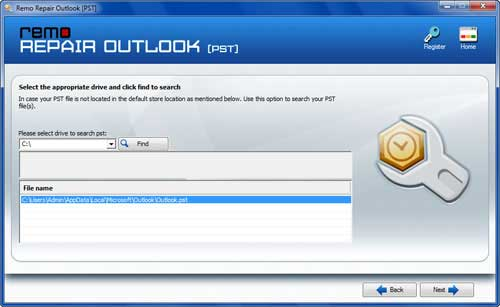 Recover Outlook Email - Open PST File Screen