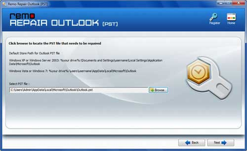 Repair Outlook Mailbox  -  Open PST File Screen